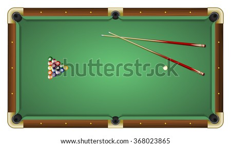 Realistic vector illustration of a green pool table with balls and cues. Top view. All elements sorted and grouped in layers - stock vector