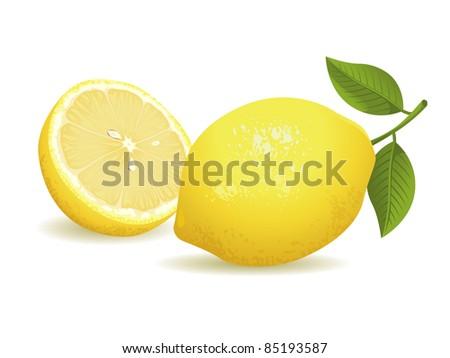 Realistic vector illustration of a lemon and a sliced lemon. - stock vector