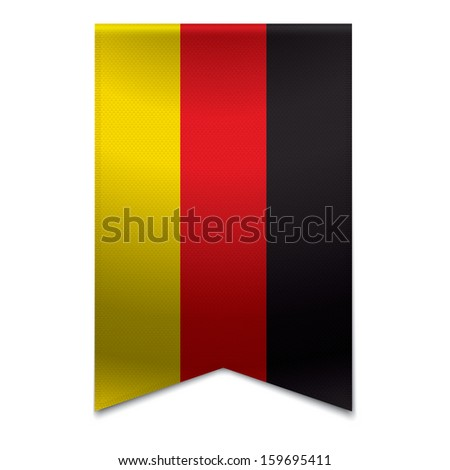 Realistic vector illustration of a ribbon banner with the german flag. Could be used for travel or tourism purpose to the country germany in europe. - stock vector
