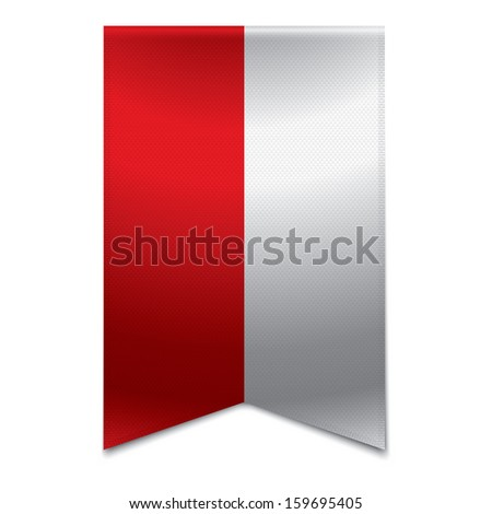 Realistic vector illustration of a ribbon banner with the polish flag. Could be used for travel or tourism purpose to the country poland in europe. - stock vector