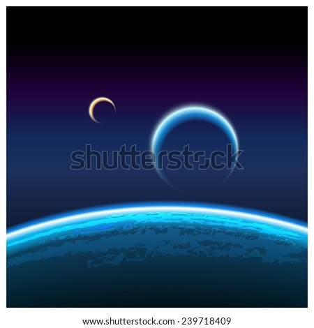 Realistic vector illustration of a view of the orbit of the planet and its satellite from space. can be used in your design, advertising production, animation, etc. - stock vector