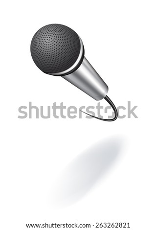 Realistic vector illustration of abstract microphone with shadow isolated on a white