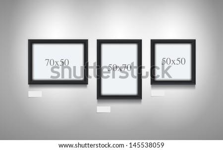 Realistic vector illustration of black wooden frames. - stock vector
