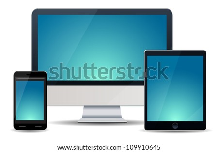 Realistic vector illustration of computer, notebook and phone isolated on background - stock vector