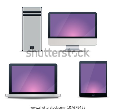 Realistic vector illustration of computer, notebook and tablet PC - stock vector