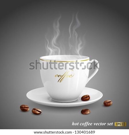 Realistic vector illustration of cup of coffee on dark gray background - stock vector