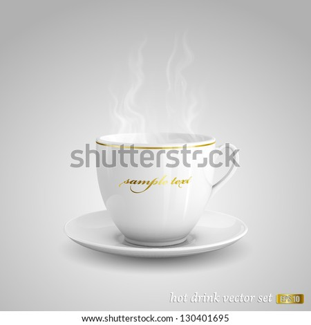 Realistic vector illustration of cup of hot drink on gray background. - stock vector