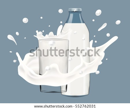 Realistic vector illustration of milk splash with bottle and glass