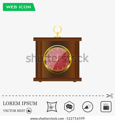 Realistic vector illustration of vintage wall clock .