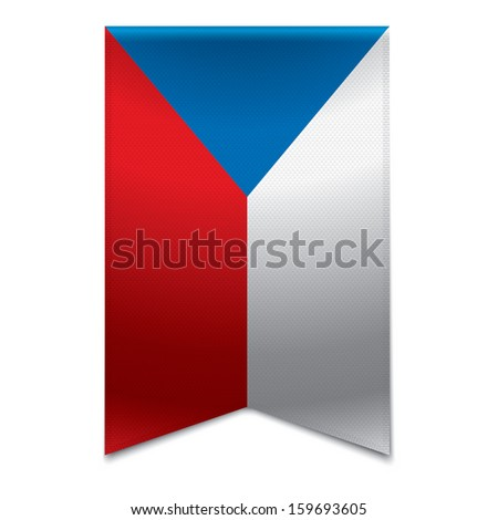 Realistic vector illustraton of a ribbon banner with the czech republic flag. Could be used for travel or tourism purpose to the country og the czech republic in europe. - stock vector