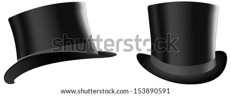 realistic vector image of a black topper and three-quarter profile - stock vector
