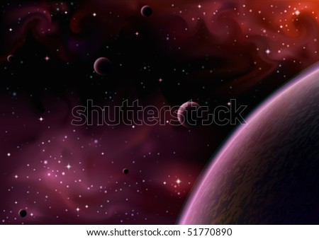 Realistic vector image of a space view near a big purple planet with several moons (AI-optimized EPS 8 file, other space views are in my gallery) - stock vector