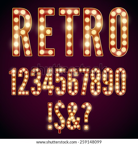 Realistic vector lamps alphabet, font set, retro style, red-yellow colors. - stock vector