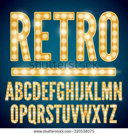 Realistic vector lamps alphabet, font set, retro style, yellow gold colors. - stock vector