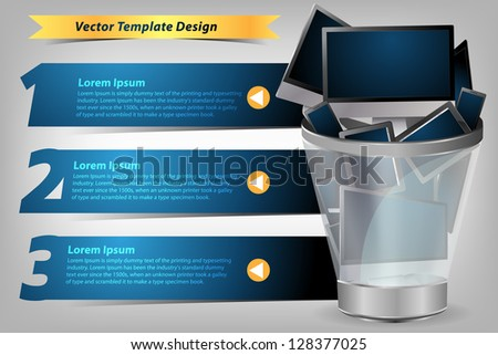 Realistic vector laptop, tablet computer concept in the Trash, With Modern Design template / infographics / numbered banners, Colorful presentations with letters numbers - stock vector