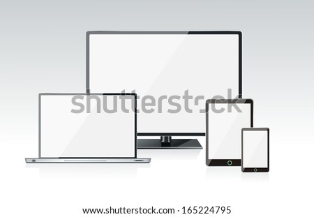 Realistic vector laptop, tablet computer, monitor and mobile phone - stock vector