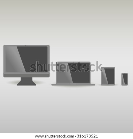 Realistic vector laptop, tablet computer, monitor and mobile phone template