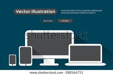 Realistic vector laptop, tablet computer, monitor and mobile phone template - flat style - stock vector