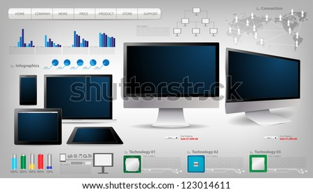 Realistic vector laptop, tablet computer, monitor and mobile phone template With infographics set and Information technology Graphics - stock vector