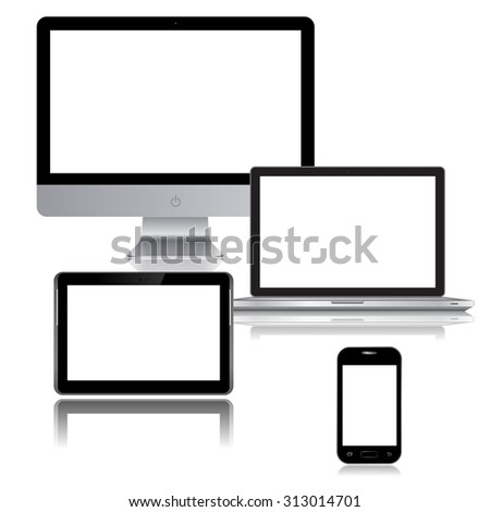 Realistic vector laptop, tablet computer, monitor and mobile phone vector - stock vector