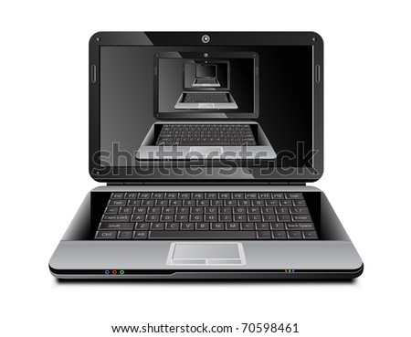 Realistic vector laptop with it's own multiple images on the screen placed inside each other - stock vector