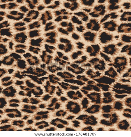 Realistic vector leopard print repeat pattern in 4 colors - stock vector