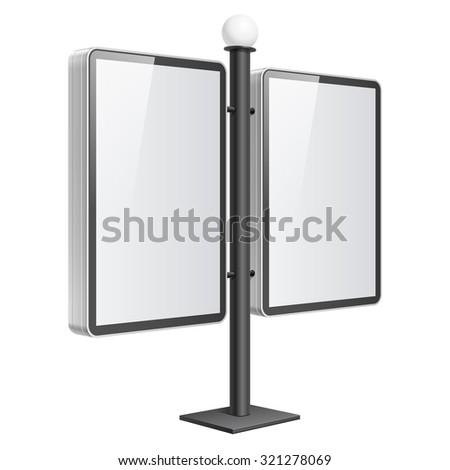 Realistic vector light box. Double Advertising Stand template on white background - stock vector