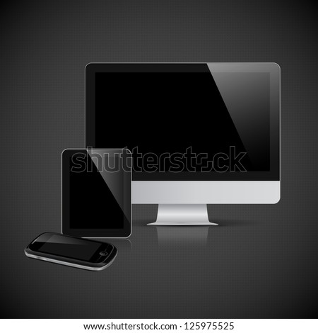 Realistic vector monitor, tablet computer and mobile phone template