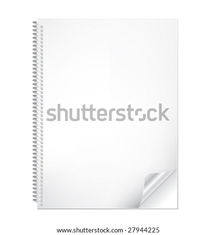 Realistic vector notebook with bended corner - stock vector
