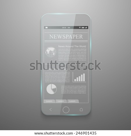 Realistic vector of glass smartphone. - stock vector