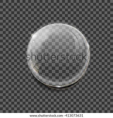 Realistic vector of transparent glossy bubble with reflections and shadows on transparent background