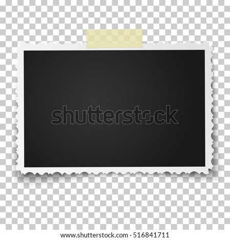 Realistic vector photo frame with retro figured edges on piece of sticky, adhesive tape placed horizontally. Template photo design.