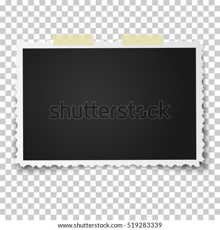 Realistic vector photo frame with retro figured edges on two pieces of sticky, adhesive tape placed horizontally. Template photo design.