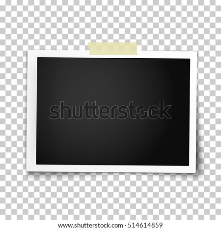 Realistic vector photo frame with straight edges on sticky tape. Template photo design.