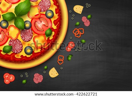 Realistic vector Pizza recipe or menu black background. Pizza with tomatoes and pepperoni on blackboard, Italian pizza background with ingredients