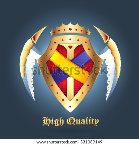 Realistic vector protect metallic mediavel shields with the wings and Crown - stock vector