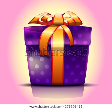 Realistic vector purple gift box tied with a point and a gold ribbon with a bow on a light pink background - stock vector