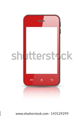 realistic vector red smart phone isolated on white background - stock vector