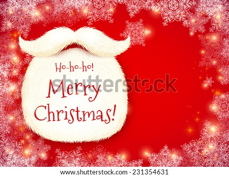 Realistic vector Santa's beard with Merry Christmas sign on red snowy background - stock vector