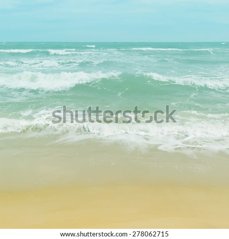 realistic vector seascape. sea waves and sand shore. background for travel design - stock vector