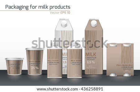 Realistic vector. Set & craft for dairy products. Template for design. Packaging Design for dairy products - stock vector