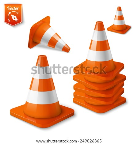 Realistic vector - set of orange road cones with stripes. - stock vector