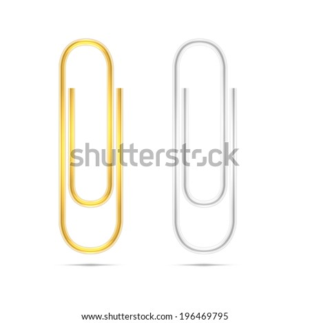 Realistic vector silver and golden paper clips on white background. Vector illustration - stock vector