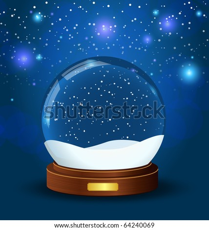 realistic vector snow globe with wooden texture - stock vector