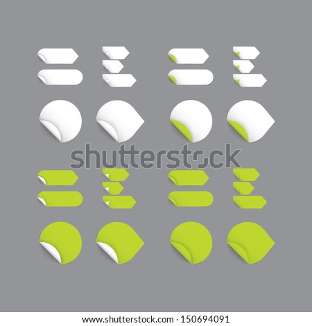 Realistic vector stickers - green collection. Modern design, blank stickers with space for your text or sign. Stickers, marks, arrows with rolled corner. Soft, realistic shadows. - stock vector