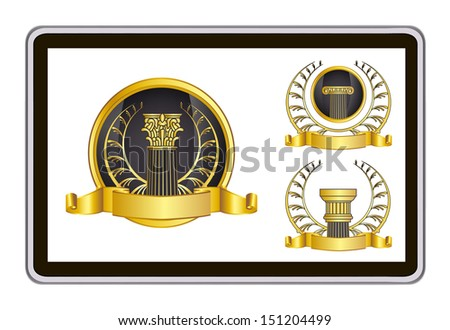 realistic vector tablet pc computer with gold laurel wreath