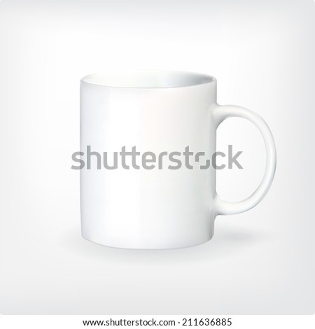 Realistic vector tea or coffee cup on white background with shadows. Mesh technique. - stock vector