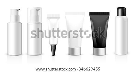 Realistic vector template.  Tubes, plastic and glass box of cream or medical product on white background. You can use it for you design of your products - stock vector