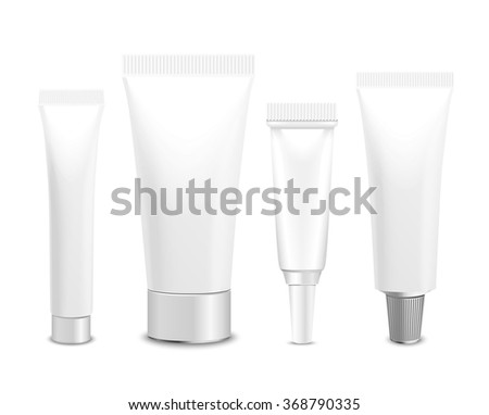 Realistic vector template. Tubes, plastic packaging of cream or medical product on white background. You can use it for you design of your products - stock vector