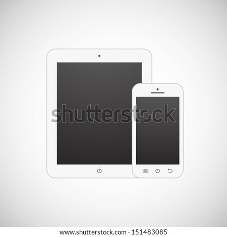 Realistic vector white tablet computer and mobile phone template - stock vector